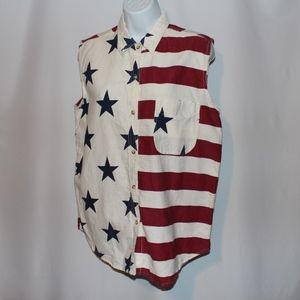 Vintage 90s American Flag shirt Large L